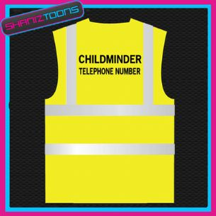 CHILDMINDER PERSONALISED  HI VIZ VEST ADULTS SIZES